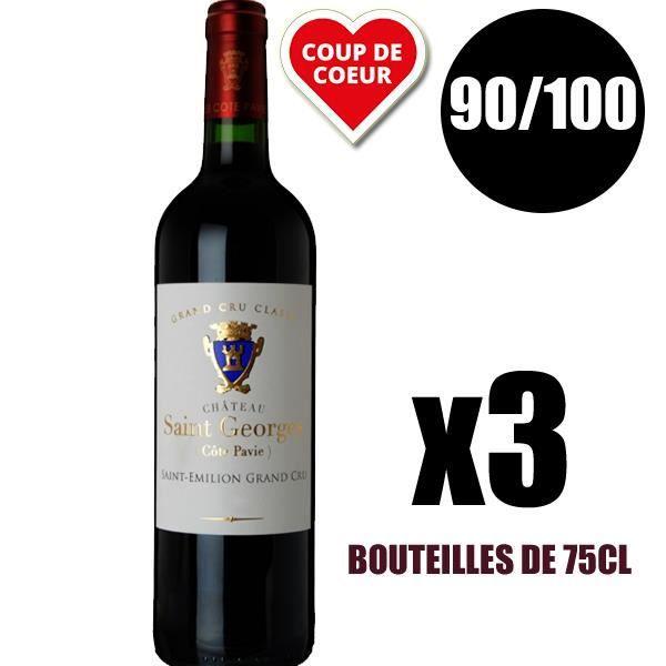 X3 Château Saint-Georges (Côtes Pavie) 2015 75 cl AOC Saint-Emilion Grand Cru Classé Rouge Vin Rouge
