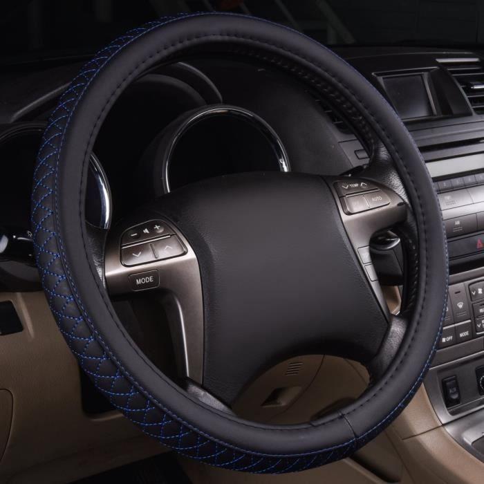 FREESOO Caches de Volant 38cm en Cuir V/éritable Couvre Volant Voiture Respirante Antid/érapante Universel Housse de Volant pour Voiture//Camion//SUV Noir
