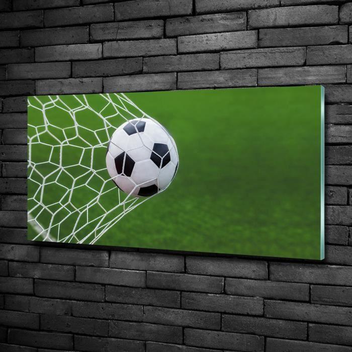 Tulup 100x50cm imprimée sur verre derrière du verre de sécurité:- Sport - Balle Dans Le But - Vert Mixte Noir