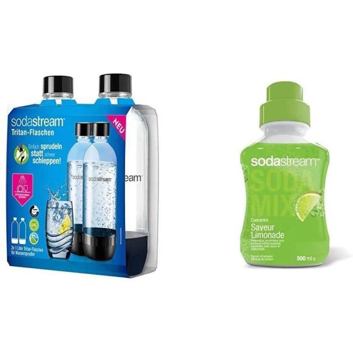 Sodastream 2 BOUTEILLES 1L CLASSIQUE LAVE VAISSELLE, Plastique, Transparent & Concentré Saveur Limonade 500ml[59]