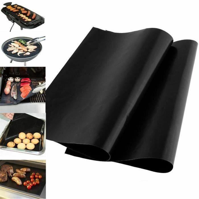 2X extérieur Barbecue gril tapis antiadhésif BBQ tapis cuisson griller tapis Barbecue Pad Fiber tissu noir BBQ tapis