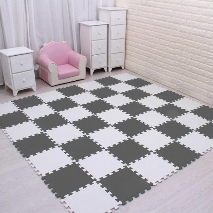Tapis d'éveil,Plus récent 9-18 pièces-ensemble EVA tapis en mousse pour enfants mosaïque sol Puzzle - Type white grey-18 pieces