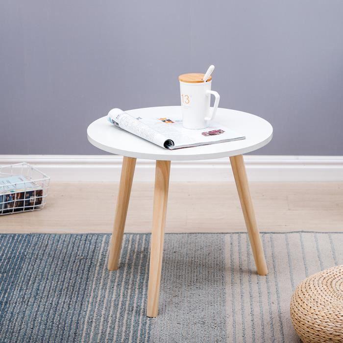 Tables Basses en combinaison Blanc de 3pcs, 60×50×40cm, style scandinave