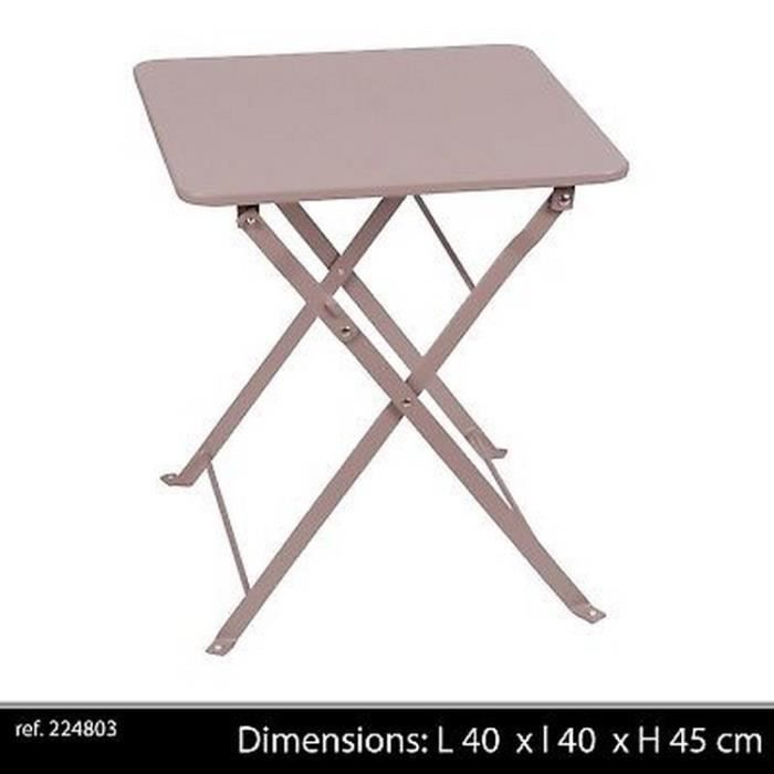 TABLE BASSE APPOINT CAMPING METAL PLIANTE PLIABLE GRISE DESIGN