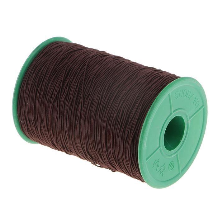 500 mètres-rouleau 0.5mm cordon élastique en Polyester extensible pour la fabrication de bijoux Bracelet perles - Type Dark Brown