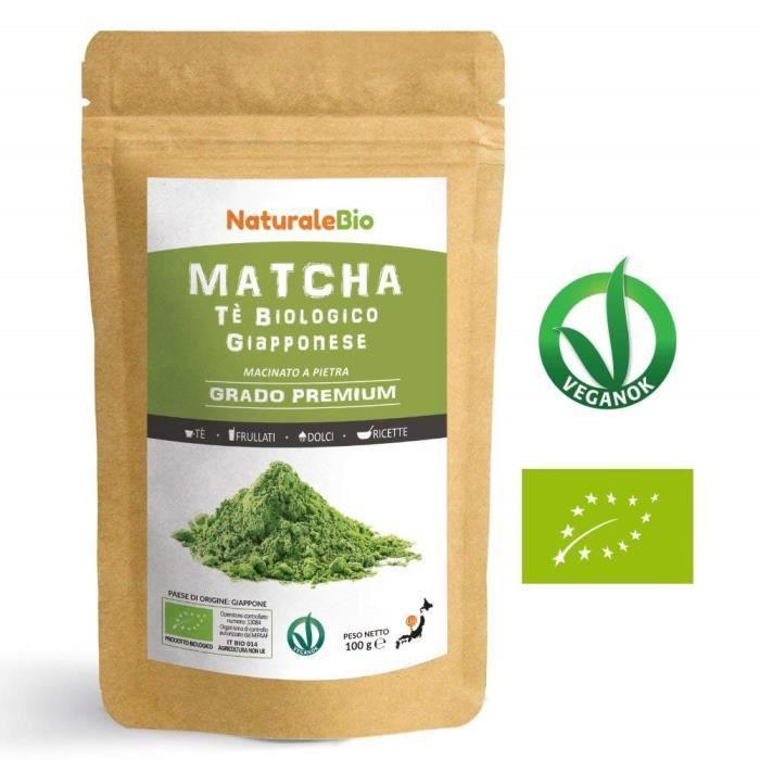 Thé Matcha Bio Japonais [ Premium Qualité ] 100 gr -Thé Vert Matcha en Poudre 100% Naturel -Matcha Green Tea Produit au Japon