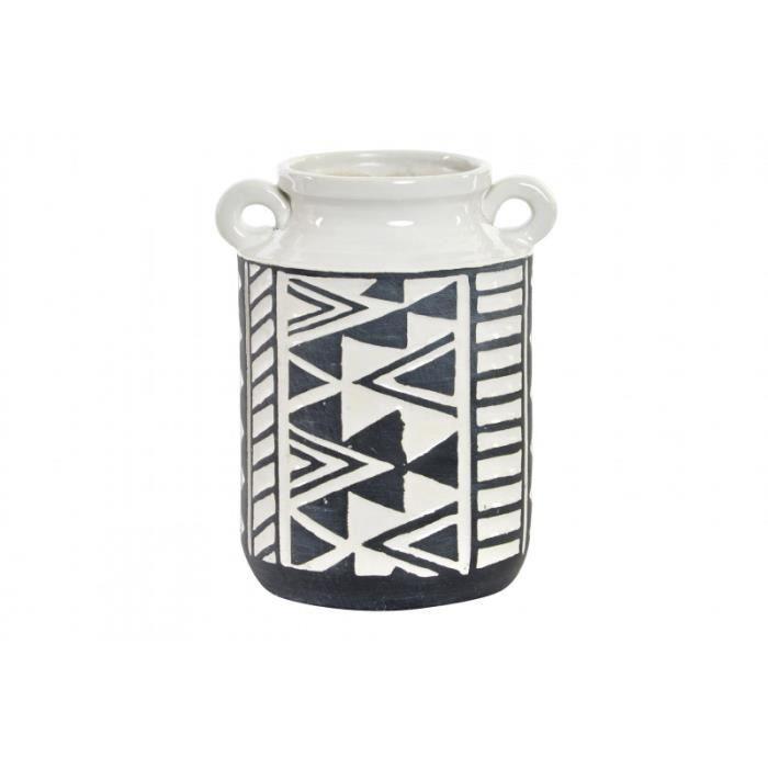 Vase/Vase, le Blanc et le Noir en Grès avec des Poignées. Motif Ikat avec un style Ethnique (15,5 cm X 19,5 cm X 13,5 cm) -