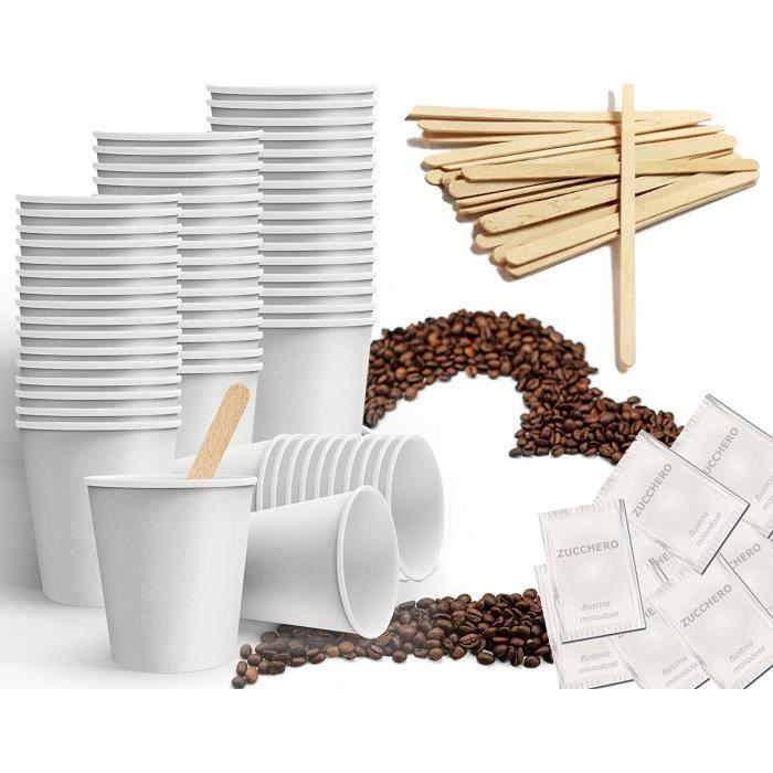 Kit d'accessoires à café composé de 150 gobelets en carton recyclables de 75 ml, 150 sachets de sucre, 150 touillettes en bois [81]