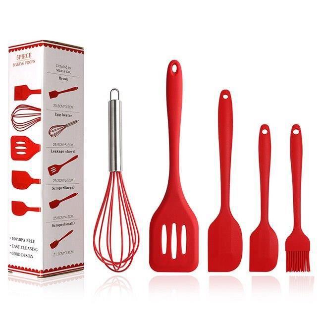 Lot Ustensiles,Ensemble d'outils de cuisine en Silicone 5 pièces-ensemble, rose, rouge et vert, spatule- Type Red 5PCS with Box