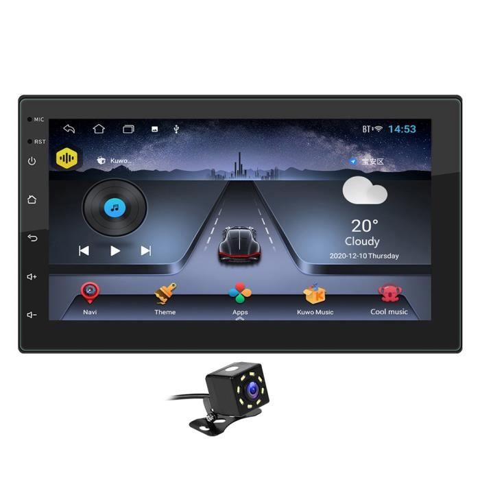 Un avec cam Autoradio Double DIN Android 10.1, Quad Core, lecteur multimédia vidéo, 2DIN, GPS, WiFi, Bluetoot