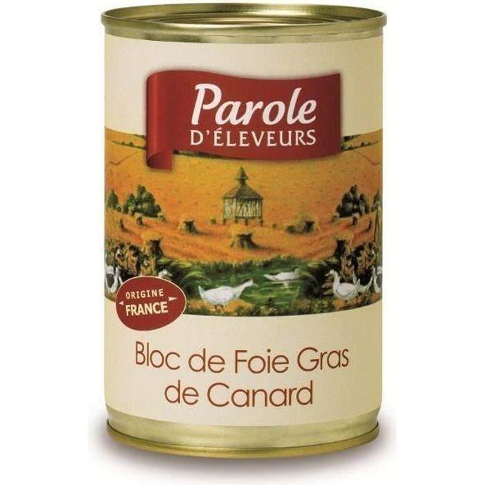 PAROLE D'ELEVEURS Bloc de Foie Gras de Canard 400g