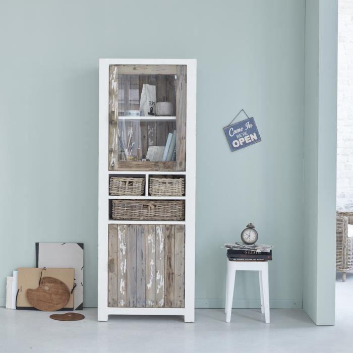 Vaisselier en bois de pin recyclé 2 portes 3 tiroirs BDBD