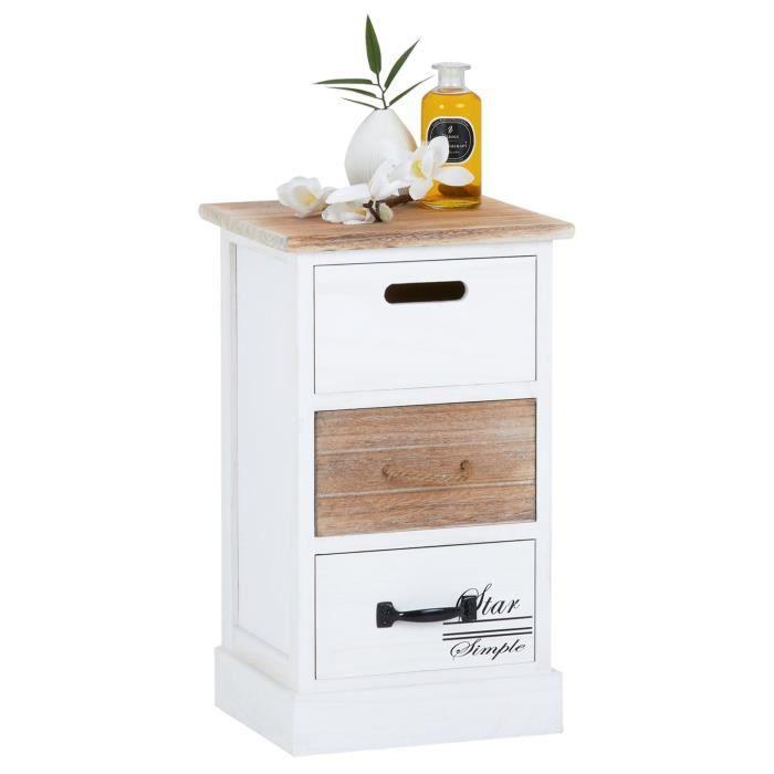 Chiffonnier SALVA commode 3 tiroirs en bois de paulownia style shabby chic vintage rustique blanc