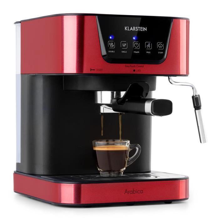 Machine à expresso - Klarstein Arabica - 1050W - Pression 15 bars - Rouge