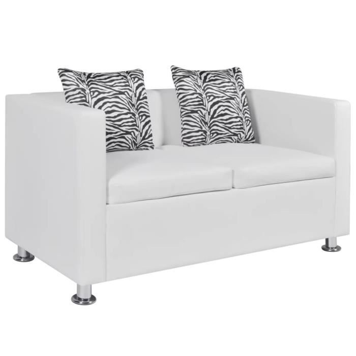 Canapé à 2 places Cuir synthétique Blanc Salle de Séjour Salon Sofa 120 x 62,5 x 63 cm (L x l x H)