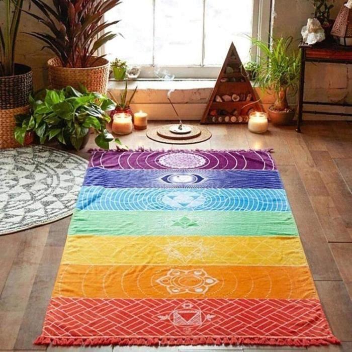 Tapis de Yoga de la Méditation ,Tapis de Sol Rayé Coloré de la Mexique Chakras Tassel