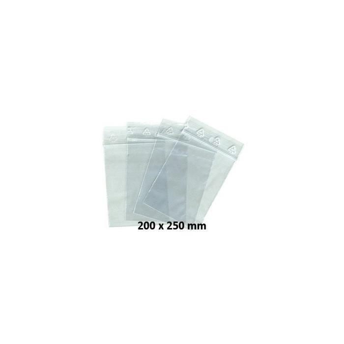 Sachets pochettes plastique zip 200 x 250 mm x 1000 pièces Transparent
