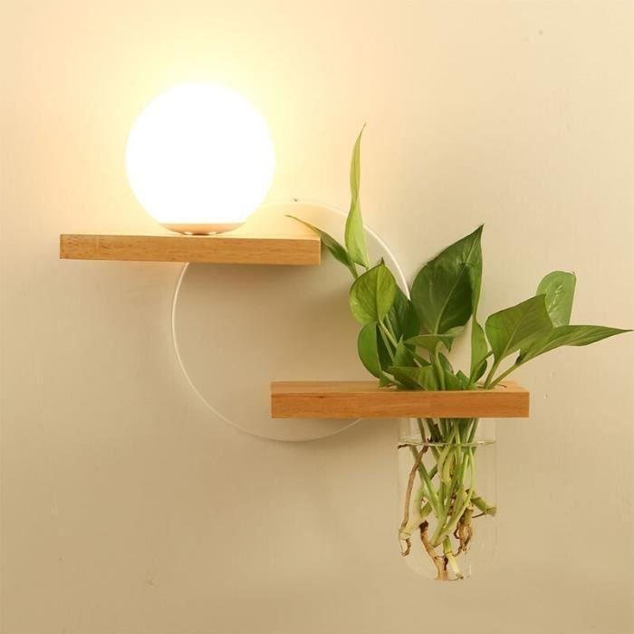 RUMOCOVO® Applique murale en bois avec prise E27, 100 à 240V, design créatif moderne, Pot de plantes vertes,type 3