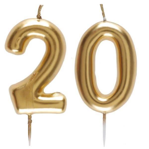 1 Pack bougie anniversaire 20 ans pour décoration gâteau anniversaire REF/6933
