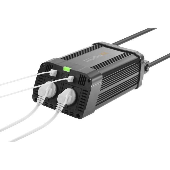Technaxx TE16 Convertisseur continu-alternatif 12 V 1200 Watt connecteurs de sortie : 2