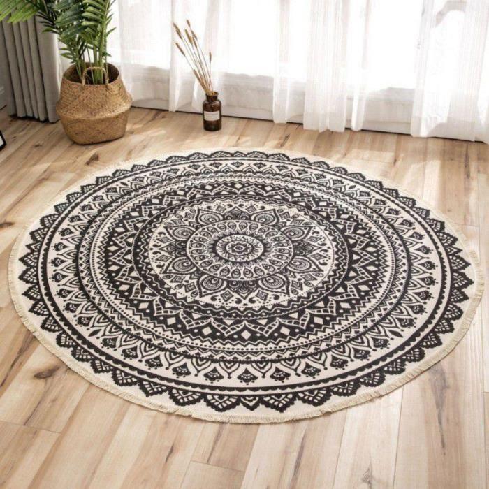 Tapis de sol circulaire imprimé style ethnique-noir lotus