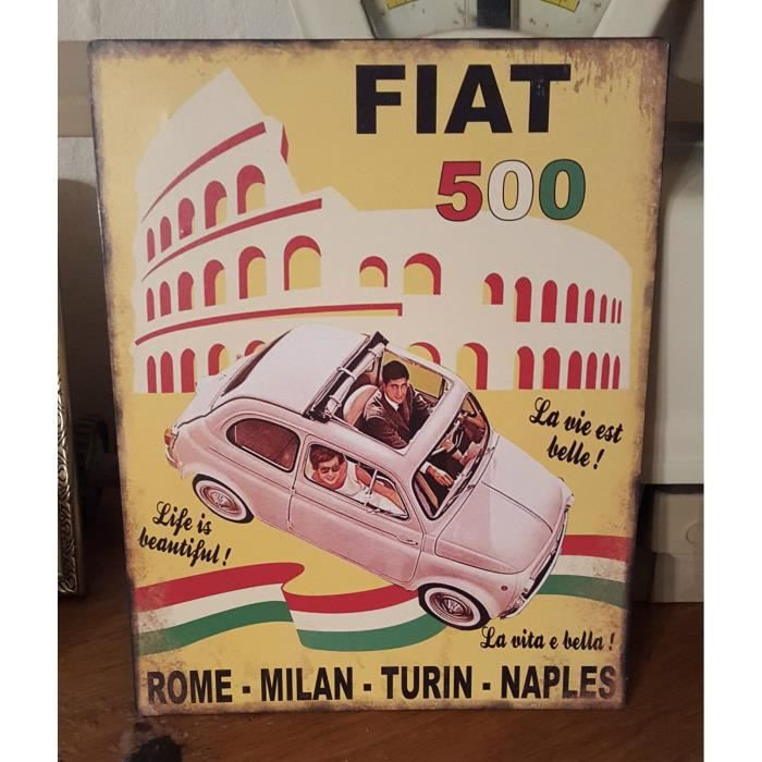 Plaque fiat 500 rome milan 28 22 cm achat vente for Decoration murale fiat 500