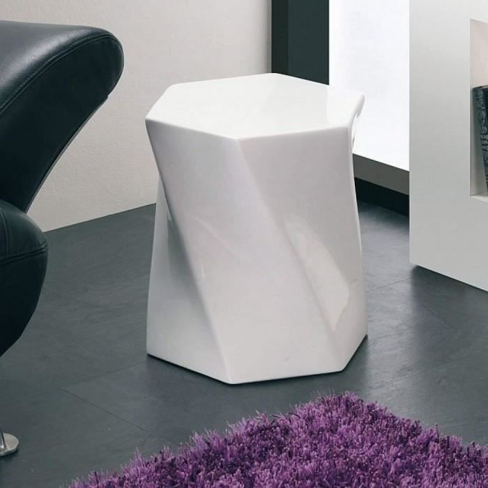 tabouret design hexa couleur blanc mati res mdf achat vente tabouret mdf plastique soldes. Black Bedroom Furniture Sets. Home Design Ideas