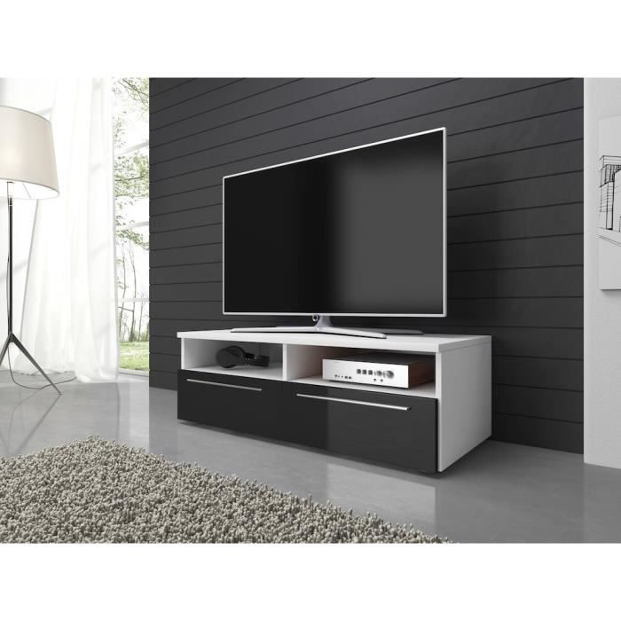 vannes meuble tv contemporain d cor blanc et noir 100 cm achat vente meuble tv vannes. Black Bedroom Furniture Sets. Home Design Ideas