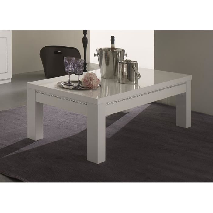 Table Basse Blanc Laqu Avec Strass Design Arnold Table