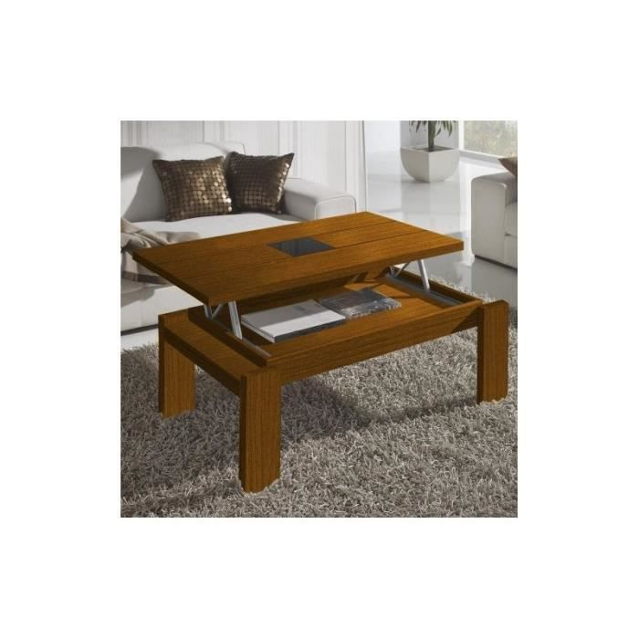 Table basse relevable moderne lipe noyer achat vente for Hauteur table de salon