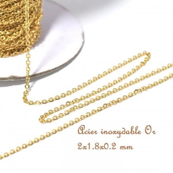 5 Collier Chaîne en Acier inoxydable Doré Pour Pendentif Création Bijoux 50cm