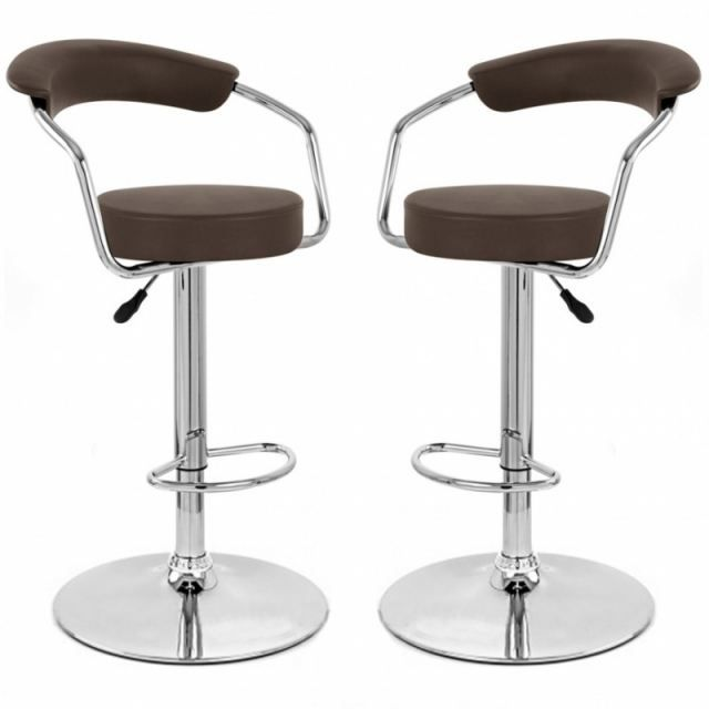 tabouret de bar marron x 2 retro coiffeur achat vente tabouret de bar acier chrom cdiscount. Black Bedroom Furniture Sets. Home Design Ideas