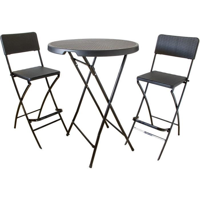 Ensemble de bar, table haute avec 2 tabourets de bar, poly-rotin ...