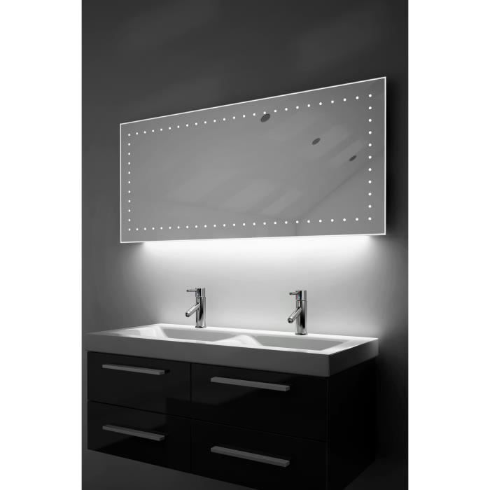 miroir de rasage salle de bain lumi re d ambiance del anti bu e capteur k173w blanc taille. Black Bedroom Furniture Sets. Home Design Ideas