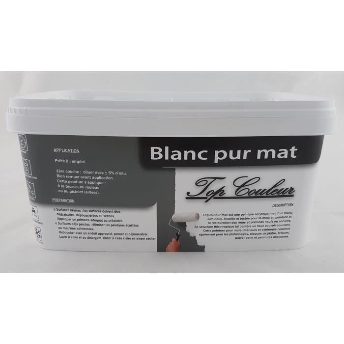 Peinture Top Couleur Blanc Mat 2 5l Achat Vente
