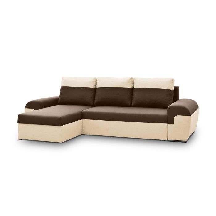 Canap d 39 angle convertible en tissu erell chocolat beige r versible ach - Beau canape convertible ...