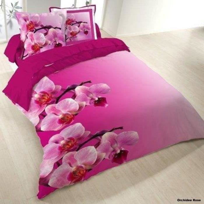 housse de couette 200x200 orchidee rose 2 taies achat. Black Bedroom Furniture Sets. Home Design Ideas