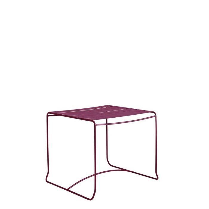Table basse de jardin métal 50x50 Pasadena Couleur Bordeaux ...