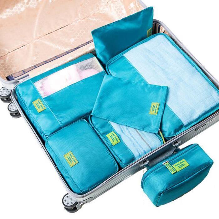 Beige Vinkl Lot de 7 Sacs de Voyage 3 Cubes - TRAVELCUBE/_SET7/_Beige Beige 1 Trousse de Toilette de qualit/é sup/érieure 3 Pochettes