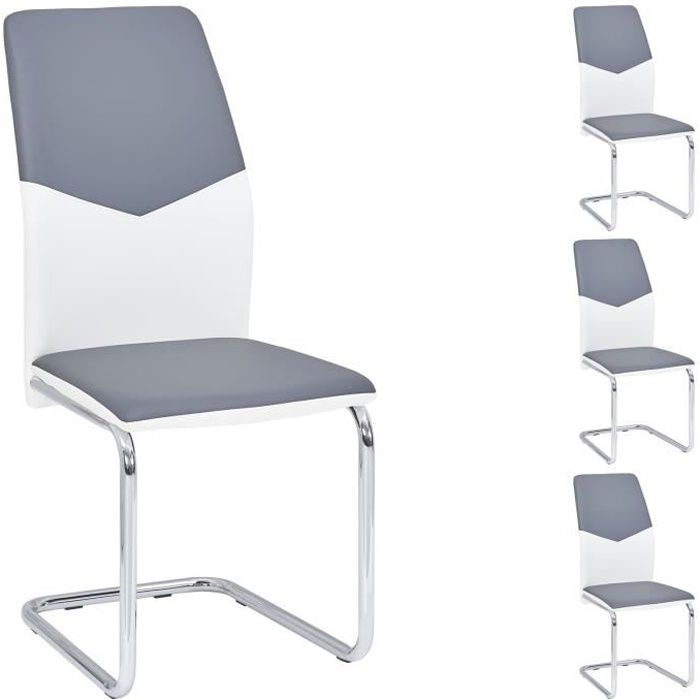 Lot De 4 Chaises Salle A Manger LEONA Pietement Chrome Revetement Synthetique Blanc Et Gris