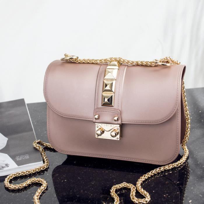Sac carré Sac à chaîne sac à bandoulière - Or rose - Cdiscount ...