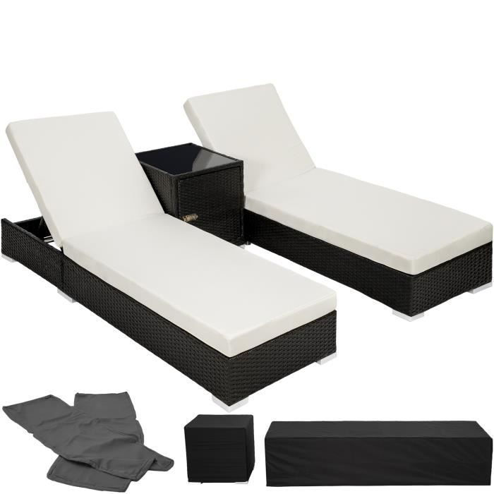 chaise longue transat bain de soleil en aluminium poly rotin noir tectake table 2 sets. Black Bedroom Furniture Sets. Home Design Ideas