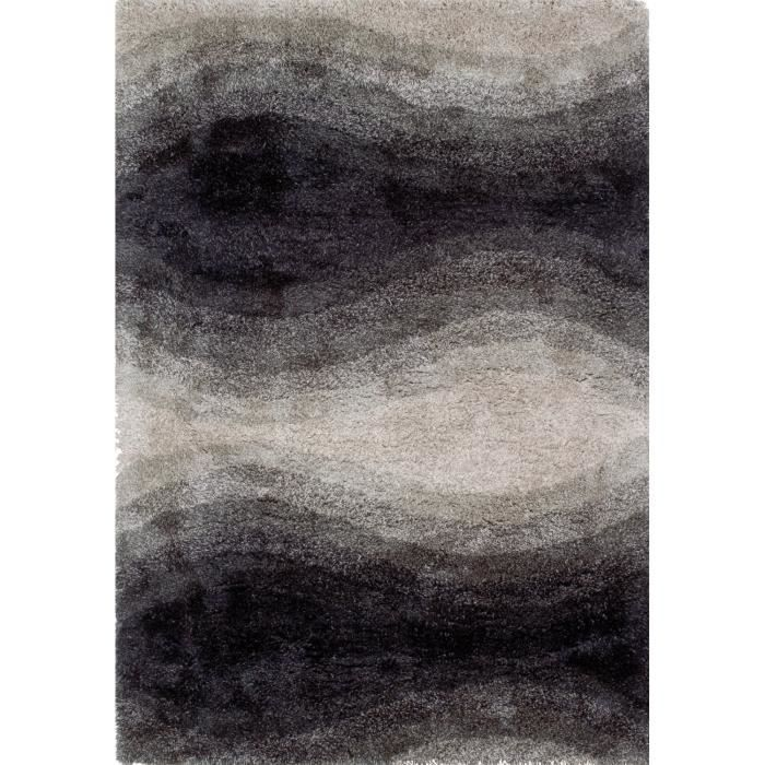 tapis shaggy a poils long scaro noir et blanc 140x200. Black Bedroom Furniture Sets. Home Design Ideas