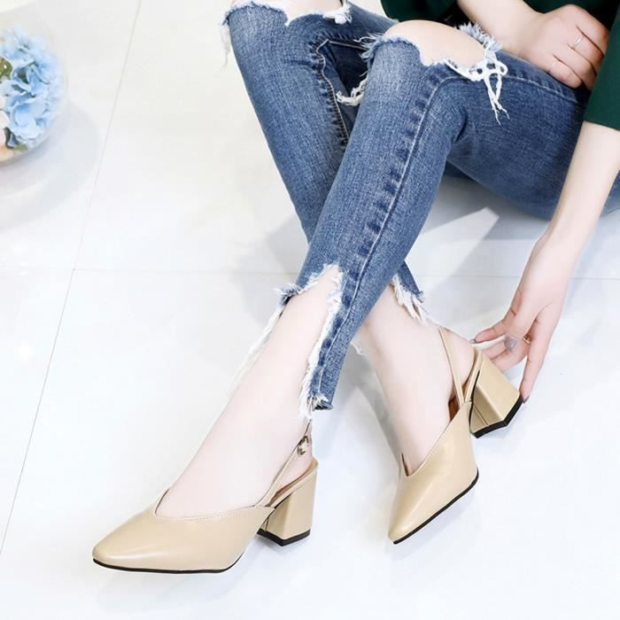 Slip Fashion Femmes Hoof Ladies Heels Party Pointed Leisure Shoes Kaki Reservece Toe on wqSFAXOXx