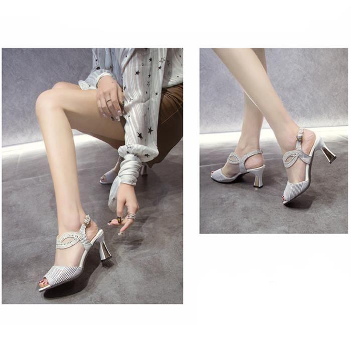 Mode féminine Sandales Toe Mesh cristal peep talon haut talons épais Chaussures blanc