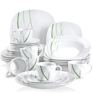 SERVICE COMPLET Veweet AVIVA 30pcs Service de Table Porcelaine 6pc