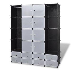 ARMOIRE DE CHAMBRE Armoire de chambre cabinet modulable avec 18 compa