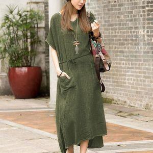 ROBE femme en vrac coton lin à manches courtes ceinture
