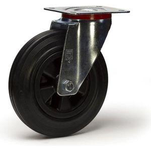 ROUE - ROULETTE Roulette caoutchouc noir pivotante diamètre 100 mm