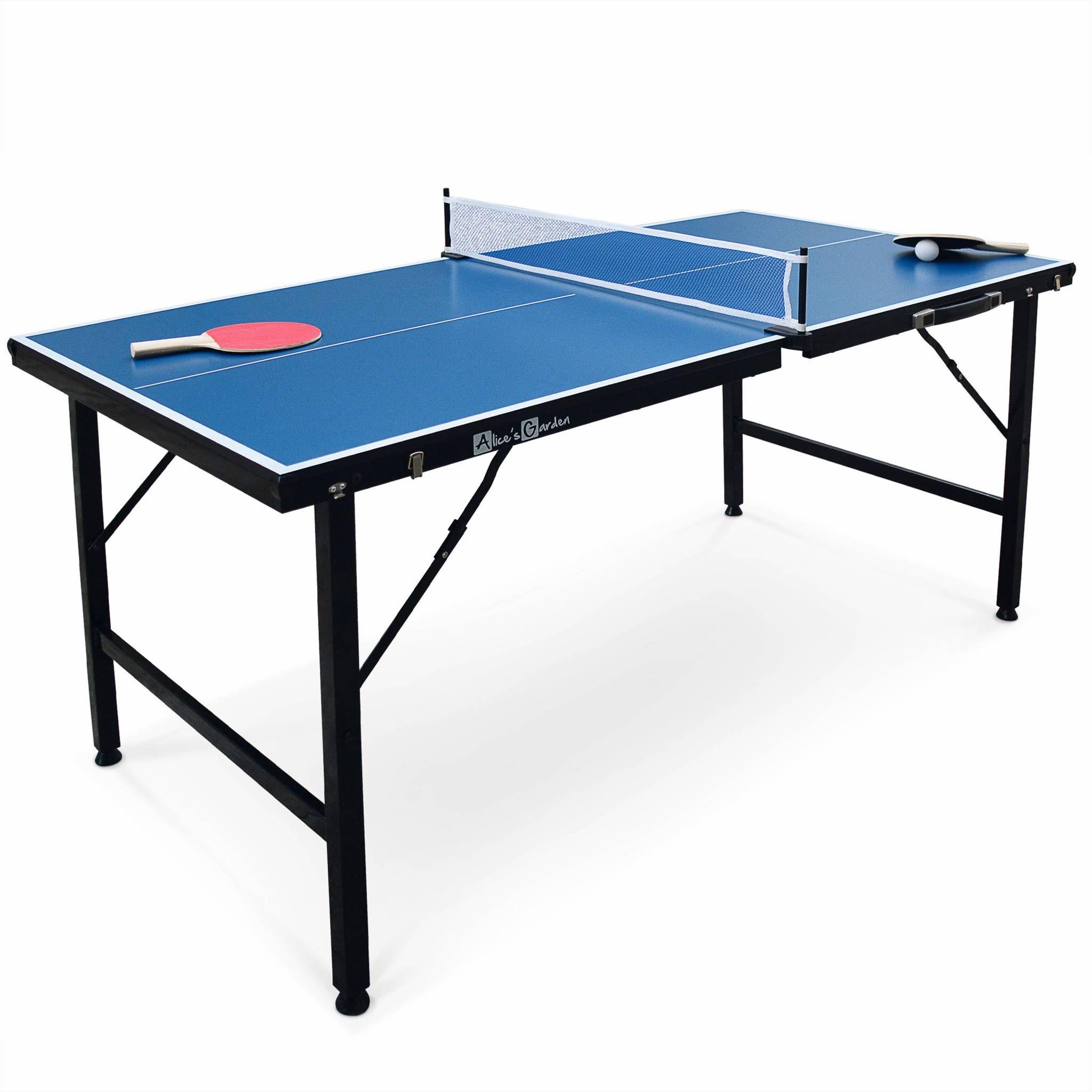 Mini table de ping pong pliable 150x75cm INDOOR bleue, avec 2 raquettes et 3 balles, pour utilisation intérieure, sport tennis de...
